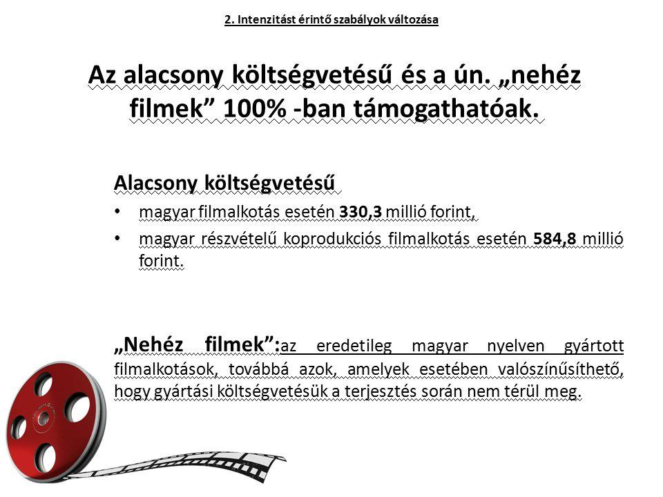 """Az alacsony költségvetésű és a ún. """"nehéz filmek"""" 100% -ban támogathatóak. Alacsony költségvetésű magyar filmalkotás esetén 330,3 millió forint, magya"""