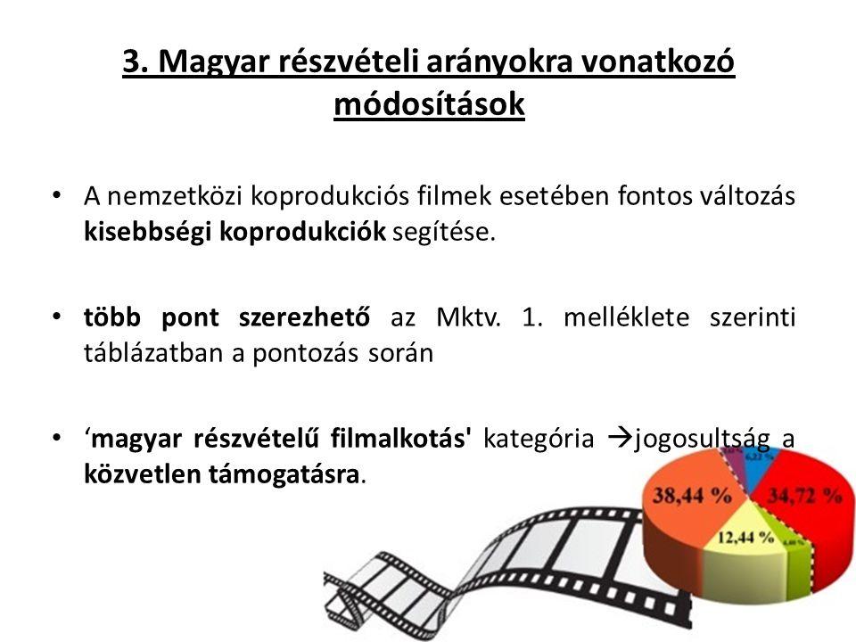 3. Magyar részvételi arányokra vonatkozó módosítások A nemzetközi koprodukciós filmek esetében fontos változás kisebbségi koprodukciók segítése. több