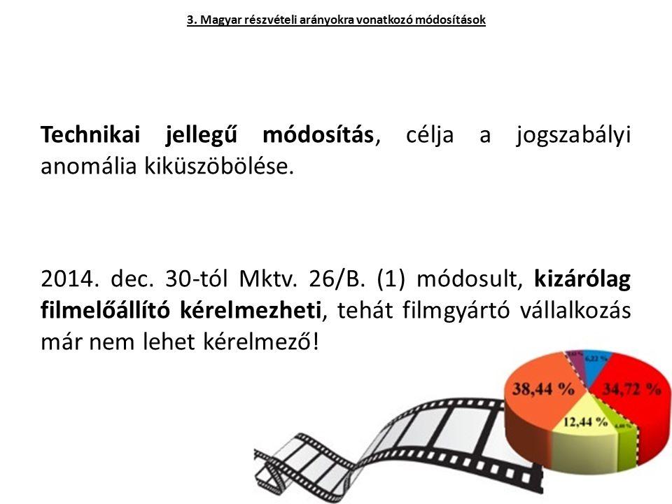 Technikai jellegű módosítás, célja a jogszabályi anomália kiküszöbölése. 2014. dec. 30-tól Mktv. 26/B. (1) módosult, kizárólag filmelőállító kérelmezh