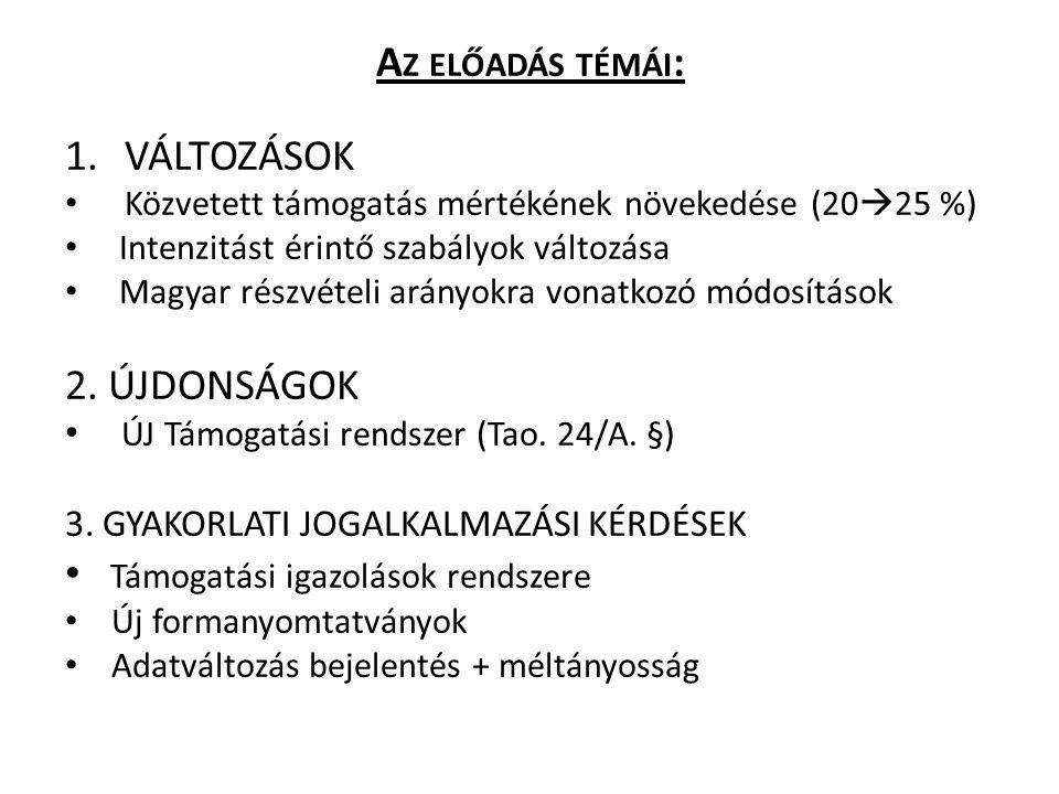 A Z ELŐADÁS TÉMÁI : 1.VÁLTOZÁSOK Közvetett támogatás mértékének növekedése (20  25 %) Intenzitást érintő szabályok változása Magyar részvételi arányo