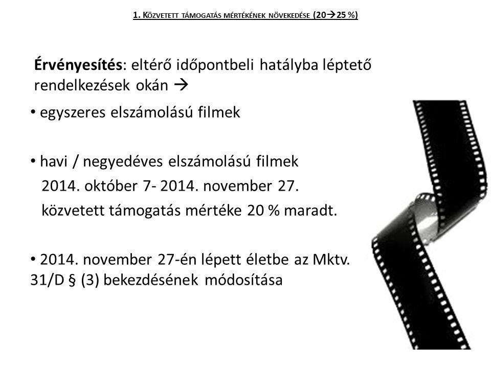 Érvényesítés: eltérő időpontbeli hatályba léptető rendelkezések okán  egyszeres elszámolású filmek havi / negyedéves elszámolású filmek 2014. október