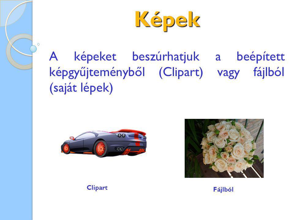 Képek A képeket beszúrhatjuk a beépített képgyűjteményből (Clipart) vagy fájlból (saját lépek) Clipart Fájlból