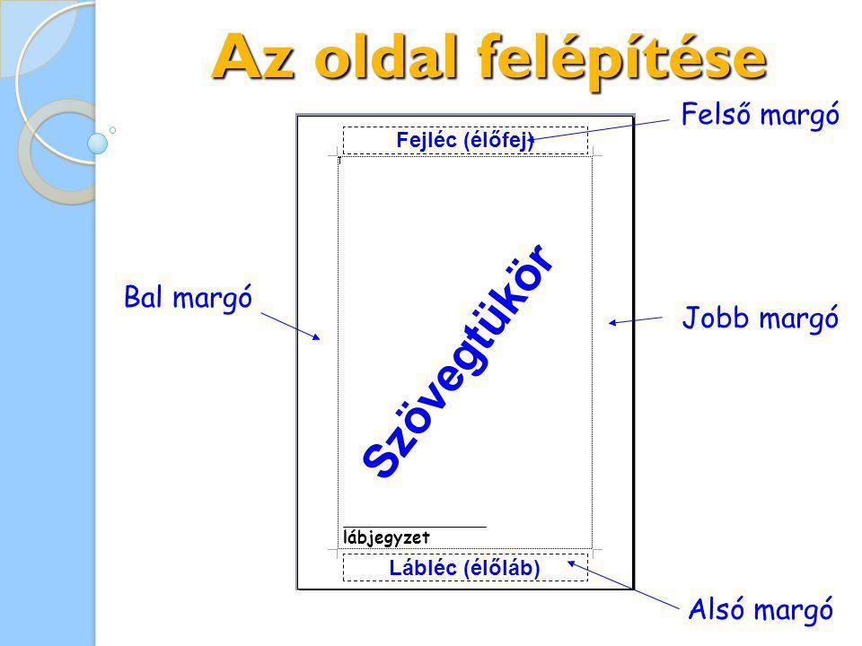 Jobb margó Bal margó Alsó margó Az oldal felépítése Felső margó Lábléc (élőláb) Fejléc (élőfej) Szövegtükör lábjegyzet