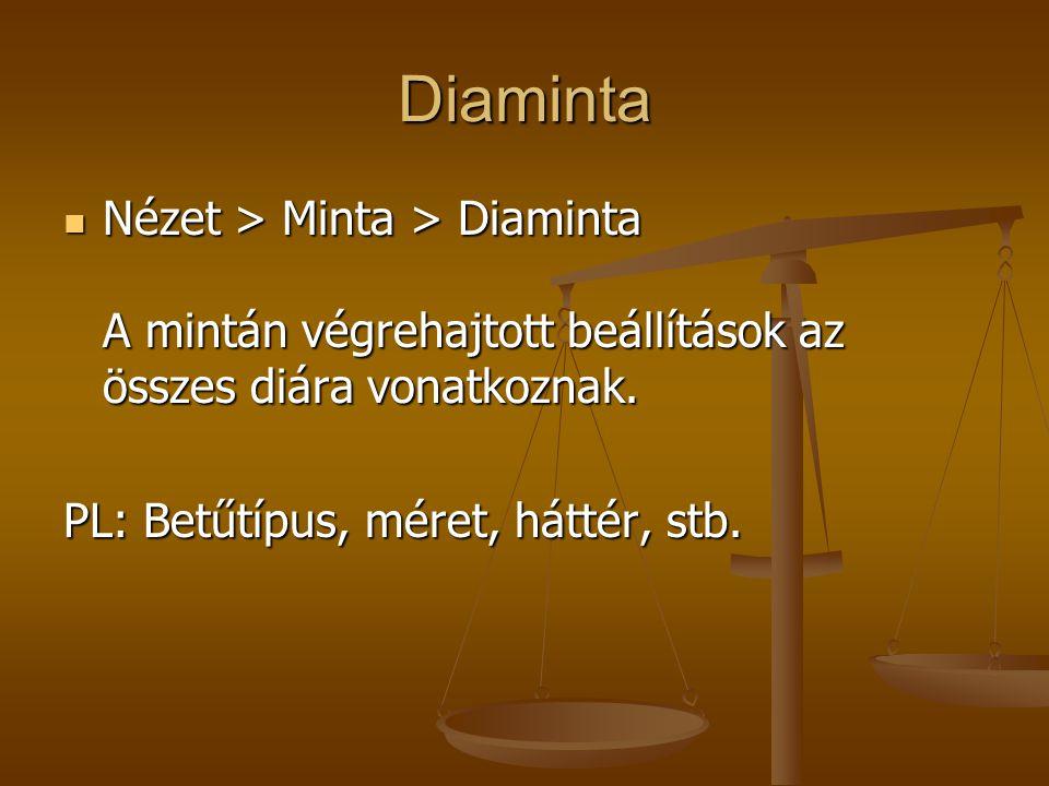 Diaminta Nézet > Minta > Diaminta A mintán végrehajtott beállítások az összes diára vonatkoznak.