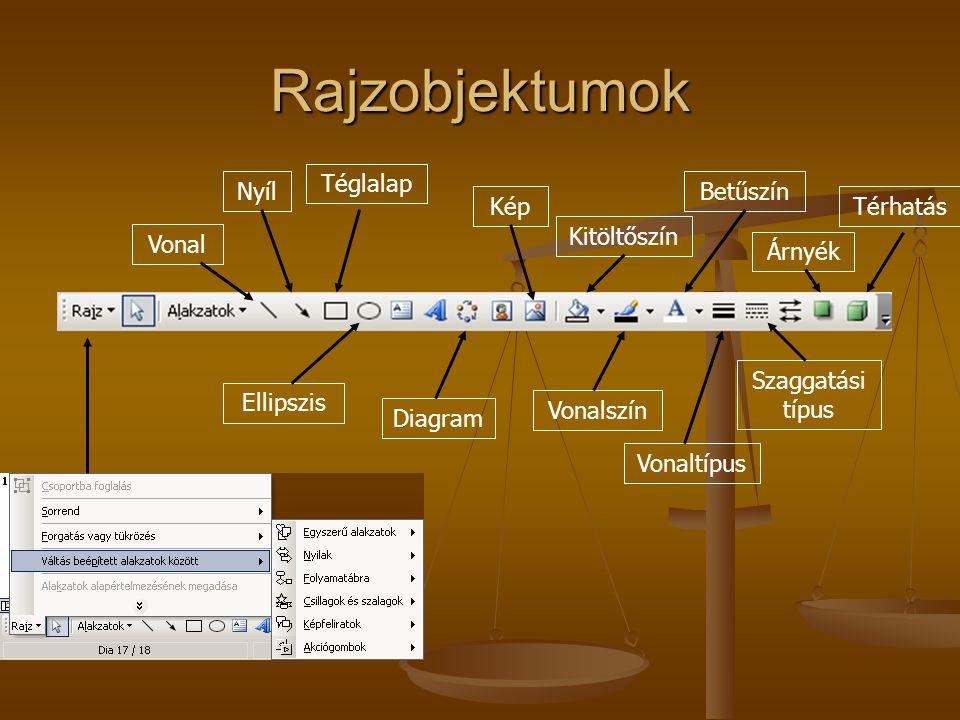 Rajzobjektumok Vonal Nyíl Téglalap Ellipszis Diagram Kép Kitöltőszín Vonalszín Betűszín Vonaltípus Szaggatási típus Árnyék Térhatás