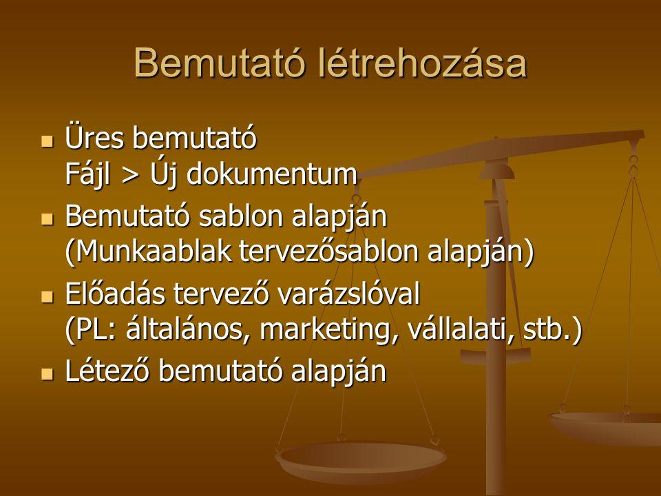 Bemutató létrehozása Üres bemutató Fájl > Új dokumentum Üres bemutató Fájl > Új dokumentum Bemutató sablon alapján (Munkaablak tervezősablon alapján) Bemutató sablon alapján (Munkaablak tervezősablon alapján) Előadás tervező varázslóval (PL: általános, marketing, vállalati, stb.) Előadás tervező varázslóval (PL: általános, marketing, vállalati, stb.) Létező bemutató alapján Létező bemutató alapján