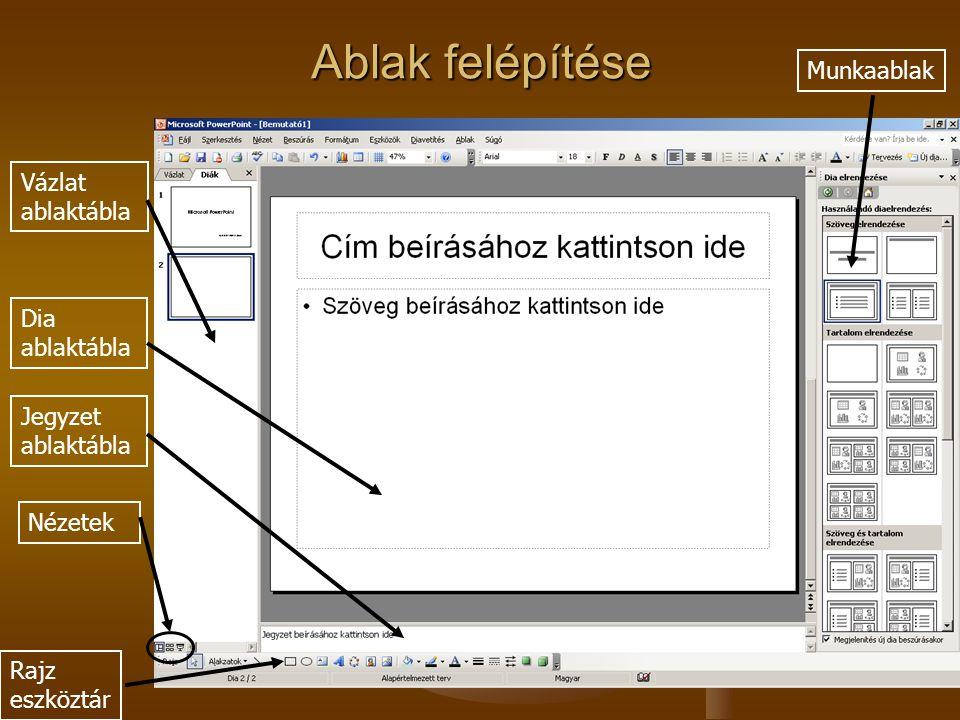 Vázlat ablaktábla Dia ablaktábla Jegyzet ablaktábla Nézetek Rajz eszköztár Munkaablak Ablak felépítése