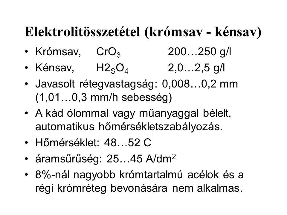 Elektrolitösszetétel (krómsav - kénsav) Krómsav, CrO 3 200…250 g/l Kénsav,H2 S O 4 2,0…2,5 g/l Javasolt rétegvastagság: 0,008…0,2 mm (1,01…0,3 mm/h sebesség) A kád ólommal vagy műanyaggal bélelt, automatikus hőmérsékletszabályozás.