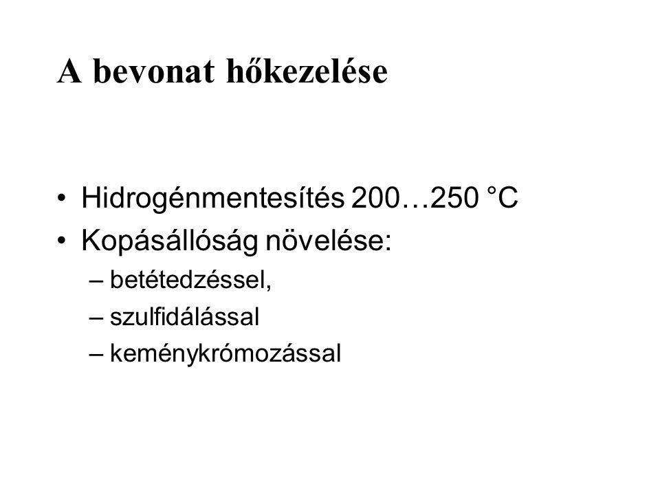 A bevonat hőkezelése Hidrogénmentesítés 200…250 °C Kopásállóság növelése: –betétedzéssel, –szulfidálással –keménykrómozással