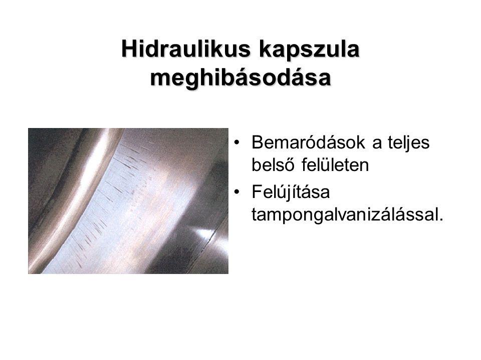 Hidraulikus kapszula meghibásodása Bemaródások a teljes belső felületen Felújítása tampongalvanizálással.