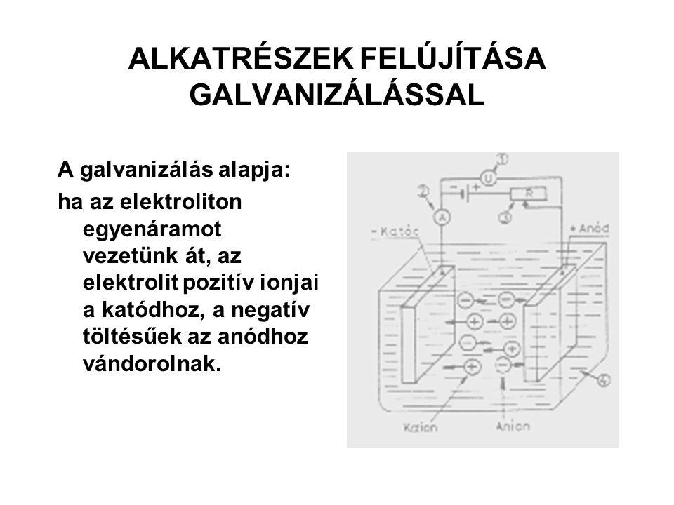 ALKATRÉSZEK FELÚJÍTÁSA GALVANIZÁLÁSSAL A galvanizálás alapja: ha az elektroliton egyenáramot vezetünk át, az elektrolit pozitív ionjai a katódhoz, a n