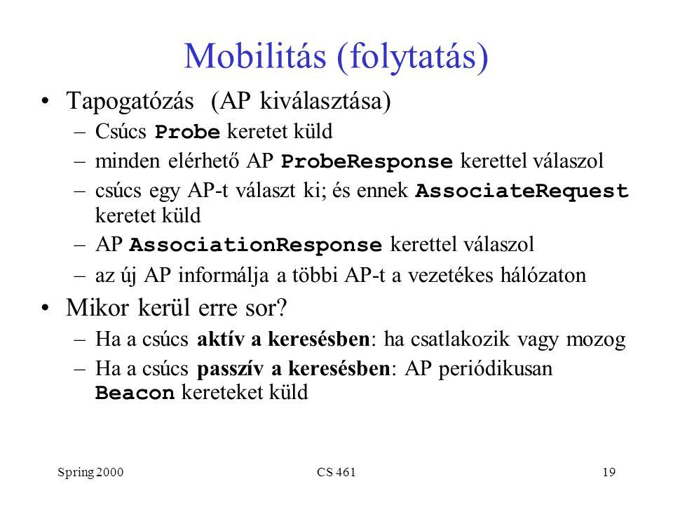 Spring 2000CS 46119 Mobilitás (folytatás) Tapogatózás (AP kiválasztása) –Csúcs Probe keretet küld –minden elérhető AP ProbeResponse kerettel válaszol –csúcs egy AP-t választ ki; és ennek AssociateRequest keretet küld –AP AssociationResponse kerettel válaszol –az új AP informálja a többi AP-t a vezetékes hálózaton Mikor kerül erre sor.