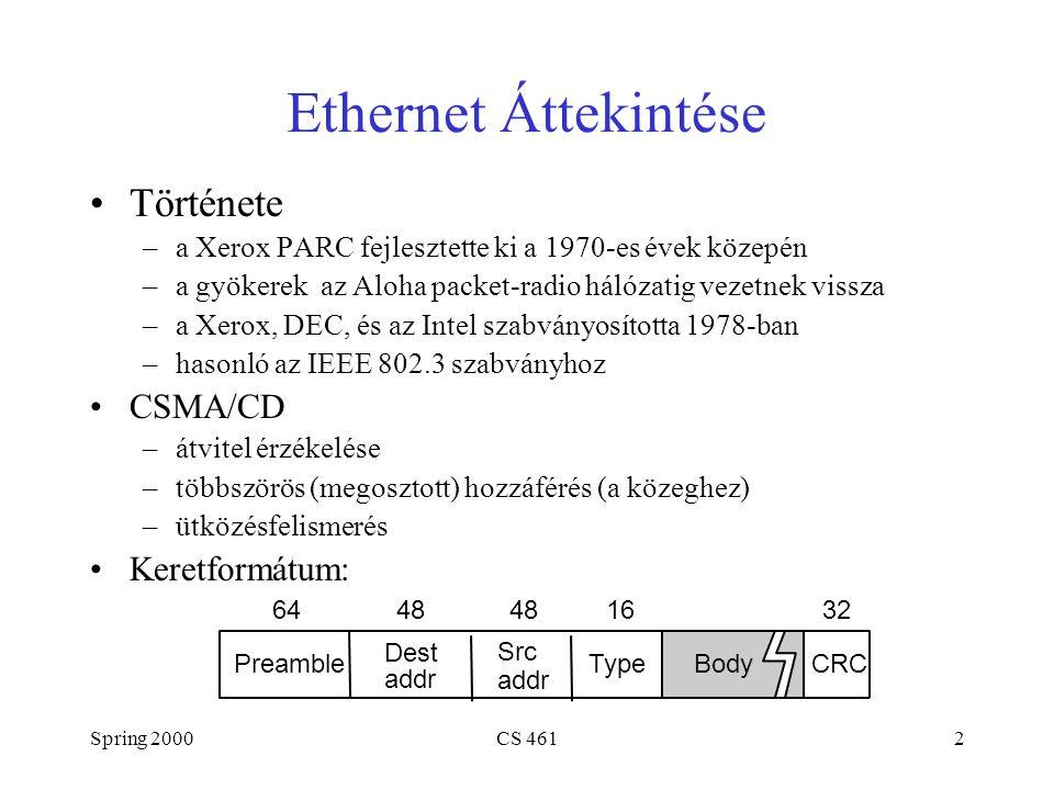 Spring 2000CS 4612 Ethernet Áttekintése Története –a Xerox PARC fejlesztette ki a 1970-es évek közepén –a gyökerek az Aloha packet-radio hálózatig vezetnek vissza –a Xerox, DEC, és az Intel szabványosította 1978-ban –hasonló az IEEE 802.3 szabványhoz CSMA/CD –átvitel érzékelése –többszörös (megosztott) hozzáférés (a közeghez) –ütközésfelismerés Keretformátum: Dest addr 644832 CRCPreamble Src addr TypeBody 1648