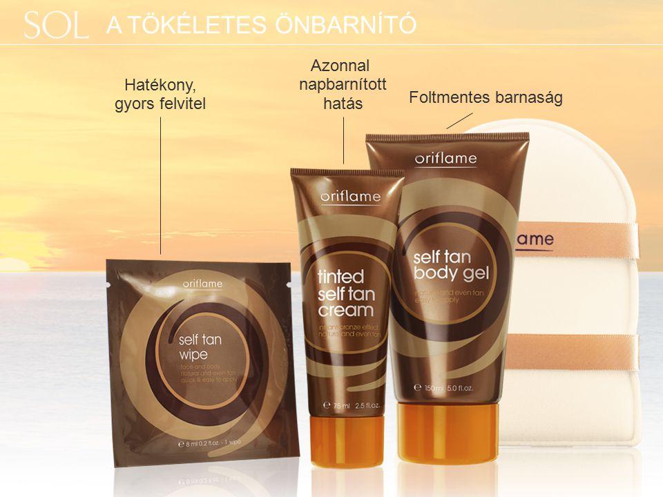 Az Oriflame barnító hatóanyaga, a felszíni bőrsejtekkel érintkezve, néhány órán belül ragyogó barna színt kölcsönöz a bőrnek.