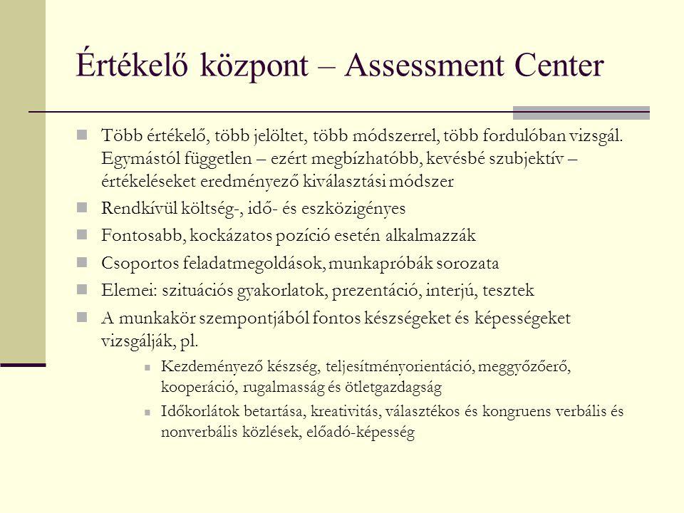 Értékelő központ – Assessment Center Több értékelő, több jelöltet, több módszerrel, több fordulóban vizsgál. Egymástól független – ezért megbízhatóbb,