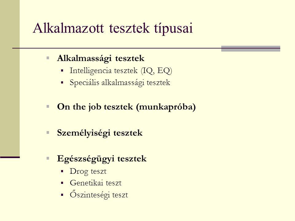 Alkalmazott tesztek típusai  Alkalmassági tesztek  Intelligencia tesztek (IQ, EQ)  Speciális alkalmassági tesztek  On the job tesztek (munkapróba)