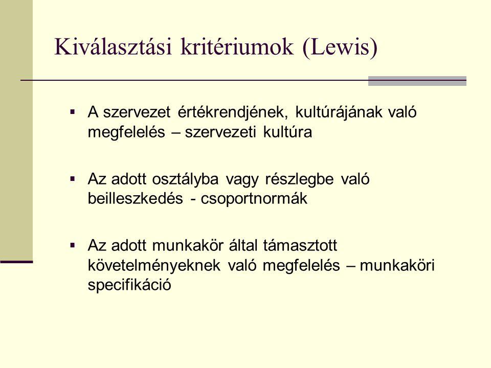 Kiválasztási kritériumok (Lewis)  A szervezet értékrendjének, kultúrájának való megfelelés – szervezeti kultúra  Az adott osztályba vagy részlegbe v