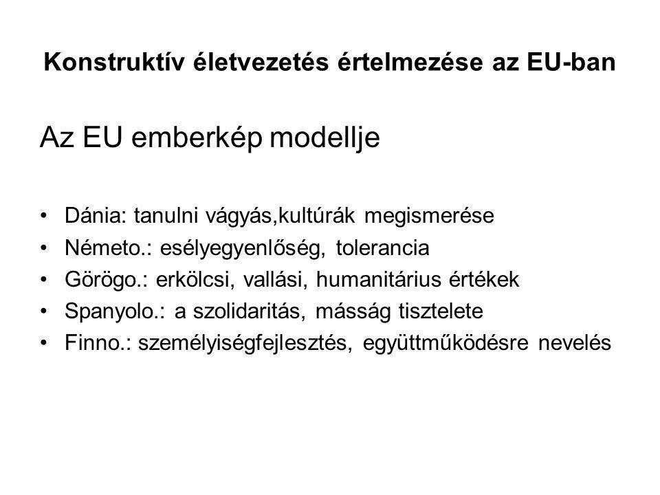 Konstruktív életvezetés értelmezése az EU-ban Az EU emberkép modellje Dánia: tanulni vágyás,kultúrák megismerése Németo.: esélyegyenlőség, tolerancia