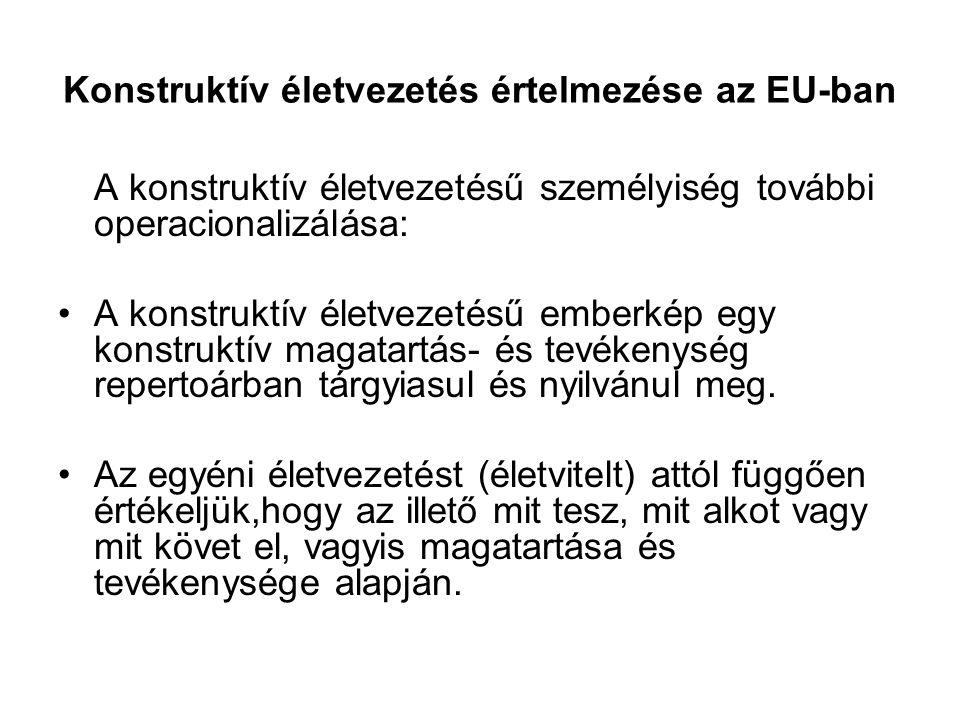 Konstruktív életvezetés értelmezése az EU-ban A konstruktív életvezetésű személyiség további operacionalizálása: A konstruktív életvezetésű emberkép e