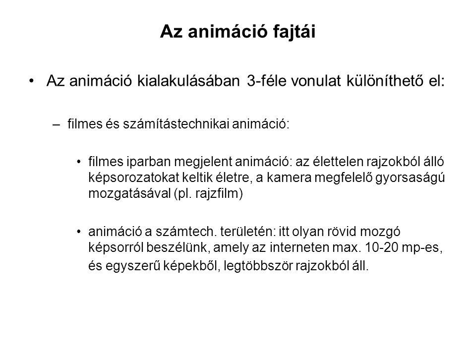 Az animáció fajtái Az animáció kialakulásában 3-féle vonulat különíthető el: –filmes és számítástechnikai animáció: filmes iparban megjelent animáció: