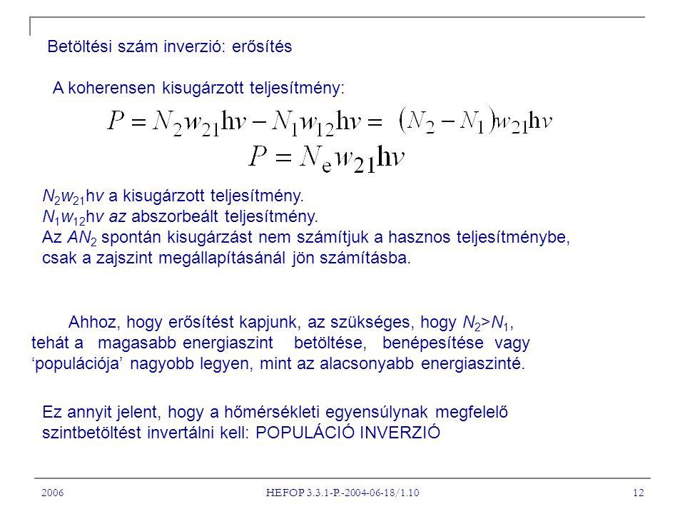 2006 HEFOP 3.3.1-P.-2004-06-18/1.10 12 Betöltési szám inverzió: erősítés A koherensen kisugárzott teljesítmény: N 2 w 21 hv a kisugárzott teljesítmény.