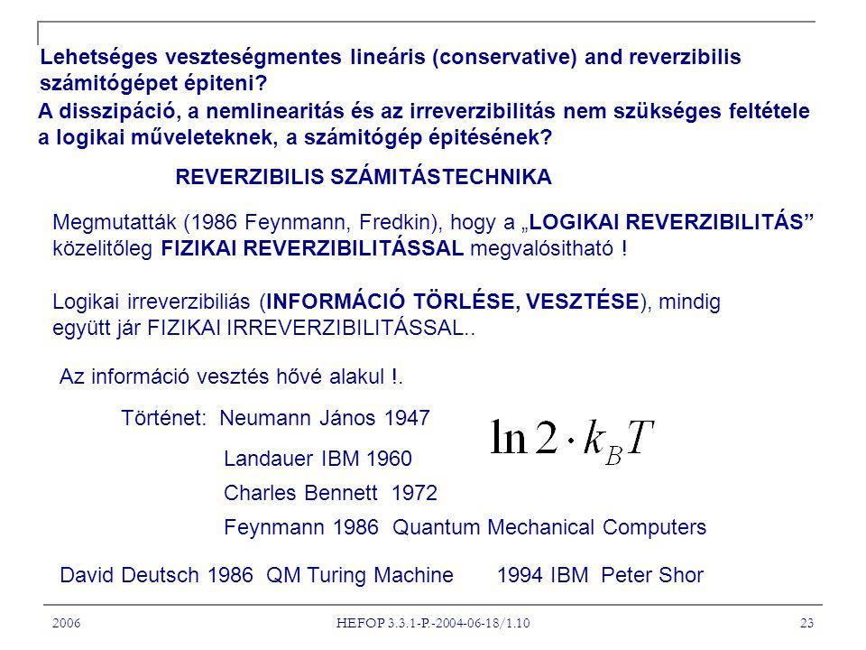 2006 HEFOP 3.3.1-P.-2004-06-18/1.10 23 Lehetséges veszteségmentes lineáris (conservative) and reverzibilis számitógépet épiteni.