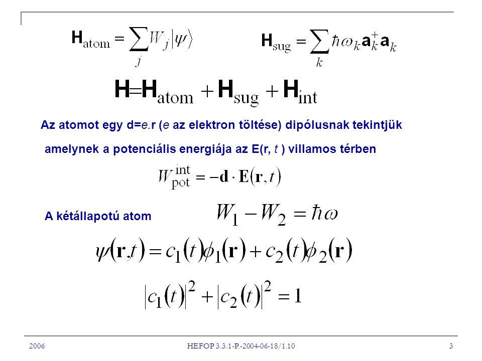 2006 HEFOP 3.3.1-P.-2004-06-18/1.10 3 Az atomot egy d=e.r (e az elektron töltése) dipólusnak tekintjük amelynek a potenciális energiája az E(r, t ) villamos térben A kétállapotú atom