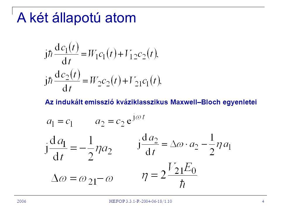 2006 HEFOP 3.3.1-P.-2004-06-18/1.10 4 Az indukált emisszió kváziklasszikus Maxwell–Bloch egyenletei A két állapotú atom