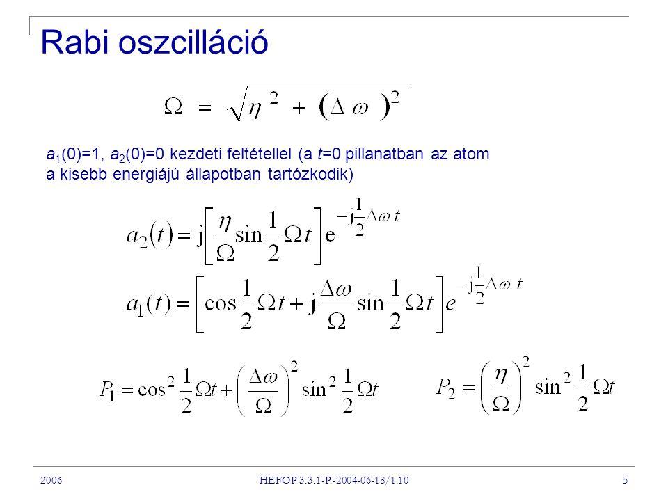2006 HEFOP 3.3.1-P.-2004-06-18/1.10 5 a 1 (0)=1, a 2 (0)=0 kezdeti feltétellel (a t=0 pillanatban az atom a kisebb energiájú állapotban tartózkodik) Rabi oszcilláció