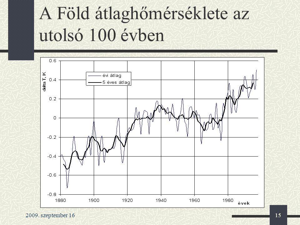 2009. szeptember 1615 A Föld átlaghőmérséklete az utolsó 100 évben