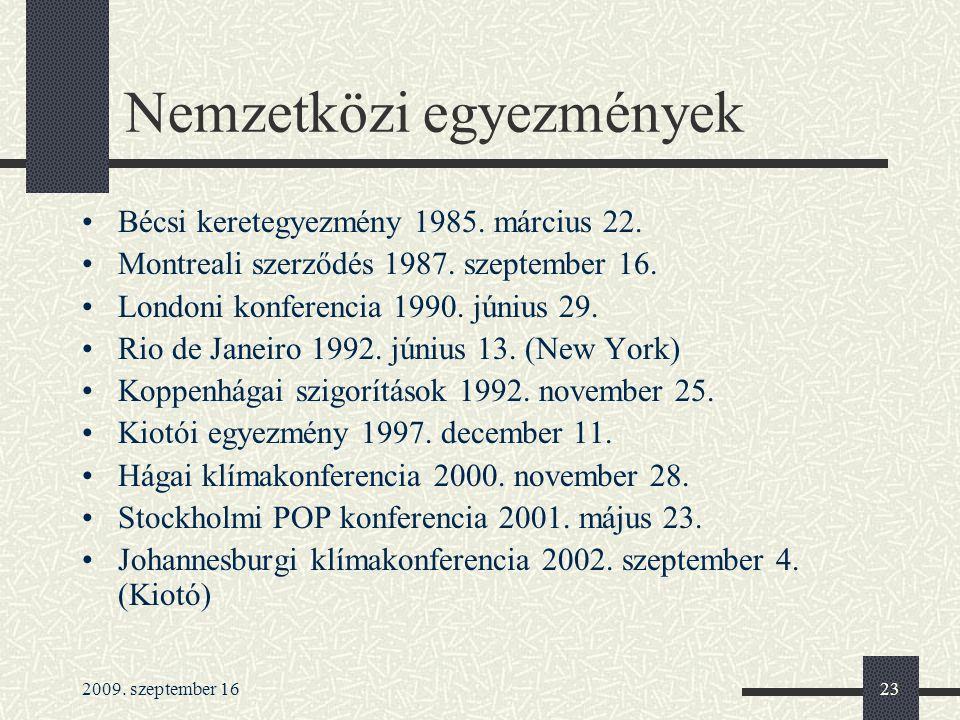 2009.szeptember 1623 Nemzetközi egyezmények Bécsi keretegyezmény 1985.