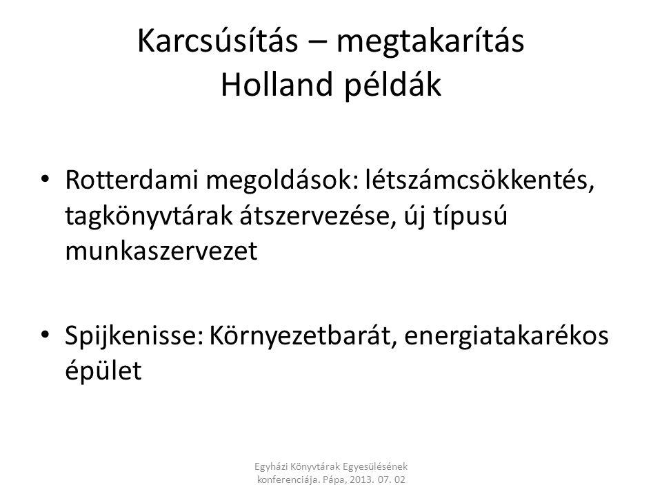 Karcsúsítás – megtakarítás Holland példák Rotterdami megoldások: létszámcsökkentés, tagkönyvtárak átszervezése, új típusú munkaszervezet Spijkenisse: Környezetbarát, energiatakarékos épület Egyházi Könyvtárak Egyesülésének konferenciája.