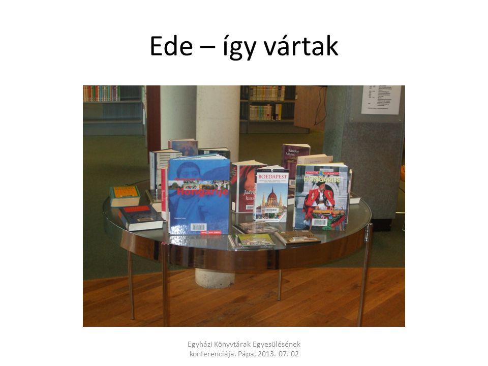 Ede – így vártak Egyházi Könyvtárak Egyesülésének konferenciája. Pápa, 2013. 07. 02