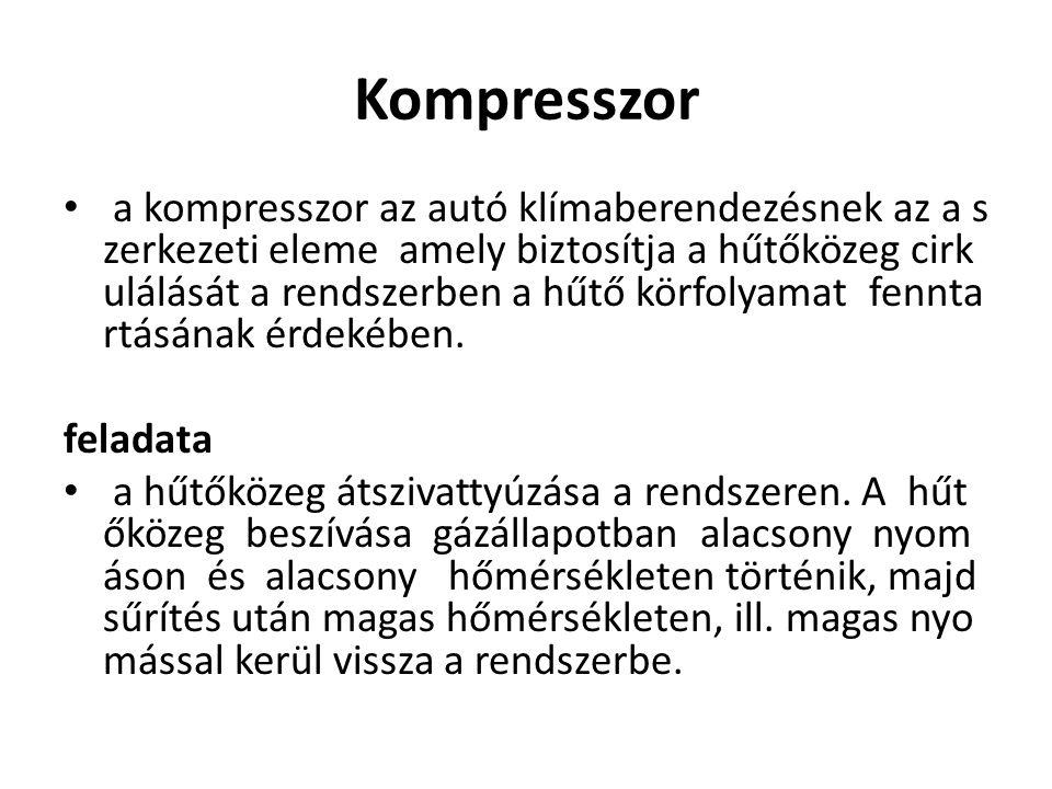 Kompresszor a kompresszor az autó klímaberendezésnek az a s zerkezeti eleme amely biztosítja a hűtőközeg cirk ulálását a rendszerben a hűtő körfolyama
