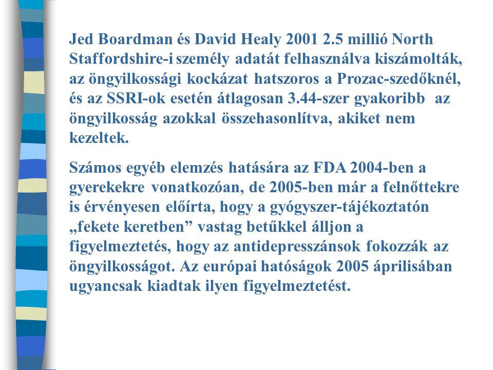 Jed Boardman és David Healy 2001 2.5 millió North Staffordshire-i személy adatát felhasználva kiszámolták, az öngyilkossági kockázat hatszoros a Prozac-szedőknél, és az SSRI-ok esetén átlagosan 3.44-szer gyakoribb az öngyilkosság azokkal összehasonlítva, akiket nem kezeltek.
