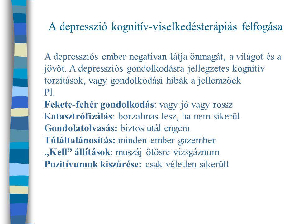 A depresszió kognitív-viselkedésterápiás felfogása A depressziós ember negatívan látja önmagát, a világot és a jövőt.