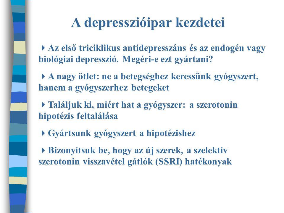 A depresszióipar kezdetei  Az első triciklikus antidepresszáns és az endogén vagy biológiai depresszió.
