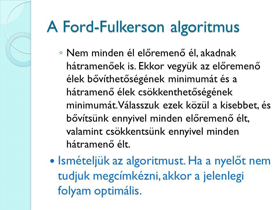A Ford-Fulkerson algoritmus ◦ Nem minden él előremenő él, akadnak hátramenőek is.