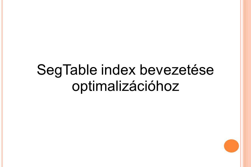S EG T ABLE INDEX BEVEZETÉSE Az előbbi algoritmus csúcshalmazokon megy végig A műveletek száma még mindig nagy, bár csökkent Bevezetjük a SegTable indexet Megőrzi az előre kiszámított legrövidebb szakaszokat Ezeket felhasználjuk részcsúcsok kiválasztásához, jövőbeni kiterjesztésekhez Ezzel próbáljuk csökkenteni az iterációk számát a keresési tér minimális növekedésével