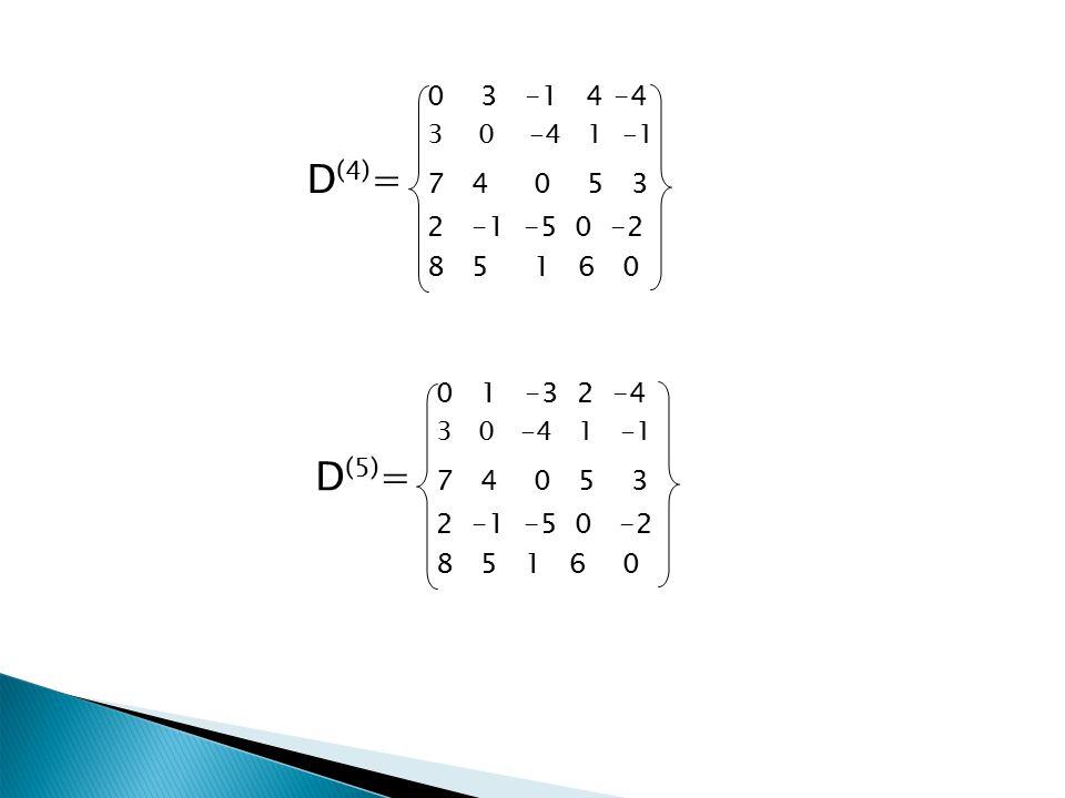 0 3 -1 4-4 3 0 -4 1 -1 D (4) = 7 4 0 5 3 2 -1 -5 0 -2 8 5 1 6 0 0 1 -3 2 -4 3 0 -4 1 -1 D (5) = 7 4 0 5 3 2 -1 -5 0 -2 8 5 1 6 0