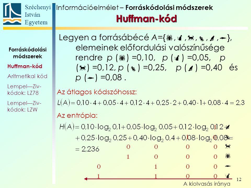 Széchenyi István Egyetem 12 Legyen a forrásábécé A={ , , , , ,  }, elemeinek előfordulási valószínűsége rendre p (  ) =0,10, p (  ) =0,05, p (  ) =0,12, p (  ) =0,25, p (  ) =0,40 és p (  ) =0,08.