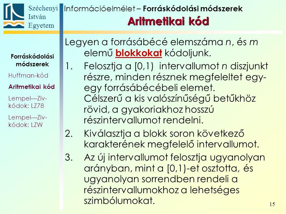 Széchenyi István Egyetem 15 Aritmetikai kód Aritmetikai kód Forráskódolási módszerek Huffman-kód Aritmetikai kód Lempel—Ziv- kódok: LZ78 Lempel—Ziv- kódok: LZW Legyen a forrásábécé elemszáma n, és m elemű blokkokat kódoljunk.