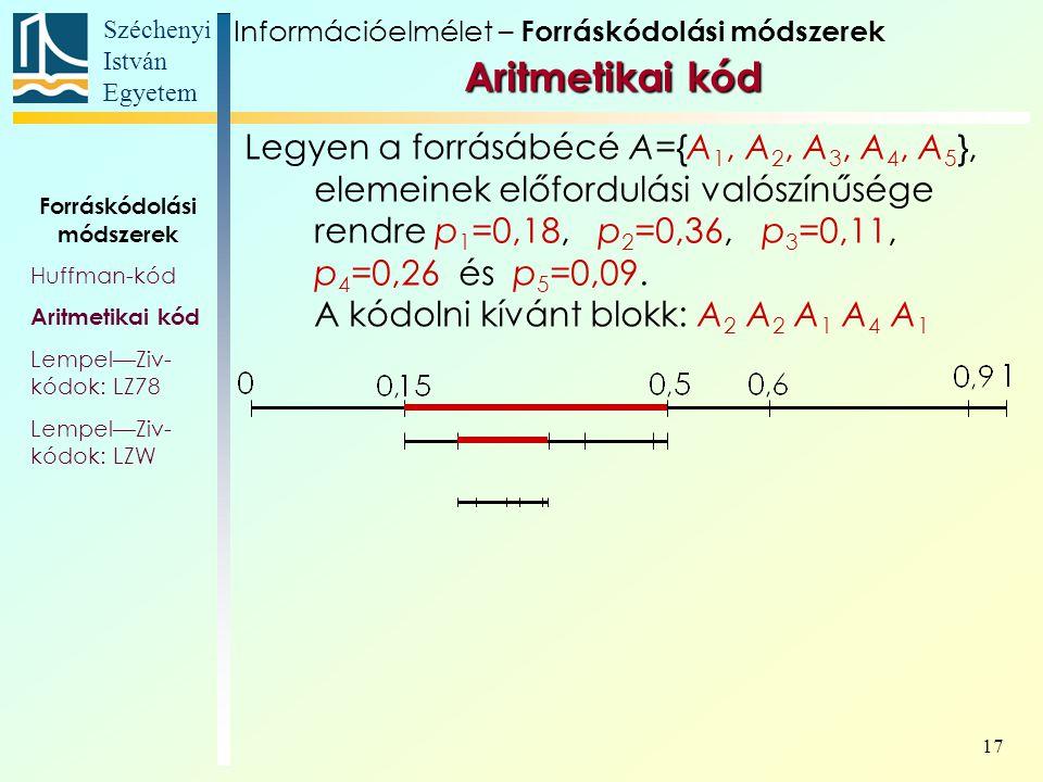 Széchenyi István Egyetem 17 Aritmetikai kód Aritmetikai kód Forráskódolási módszerek Huffman-kód Aritmetikai kód Lempel—Ziv- kódok: LZ78 Lempel—Ziv- kódok: LZW Legyen a forrásábécé A={A 1, A 2, A 3, A 4, A 5 }, elemeinek előfordulási valószínűsége rendre p 1 =0,18, p 2 =0,36, p 3 =0,11, p 4 =0,26 és p 5 =0,09.
