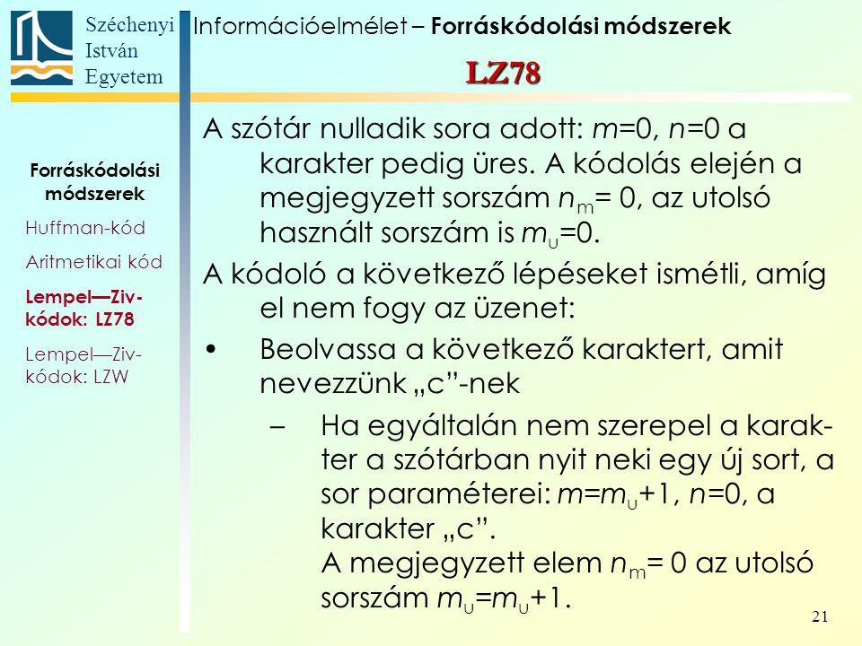 Széchenyi István Egyetem 21 A szótár nulladik sora adott: m=0, n=0 a karakter pedig üres.