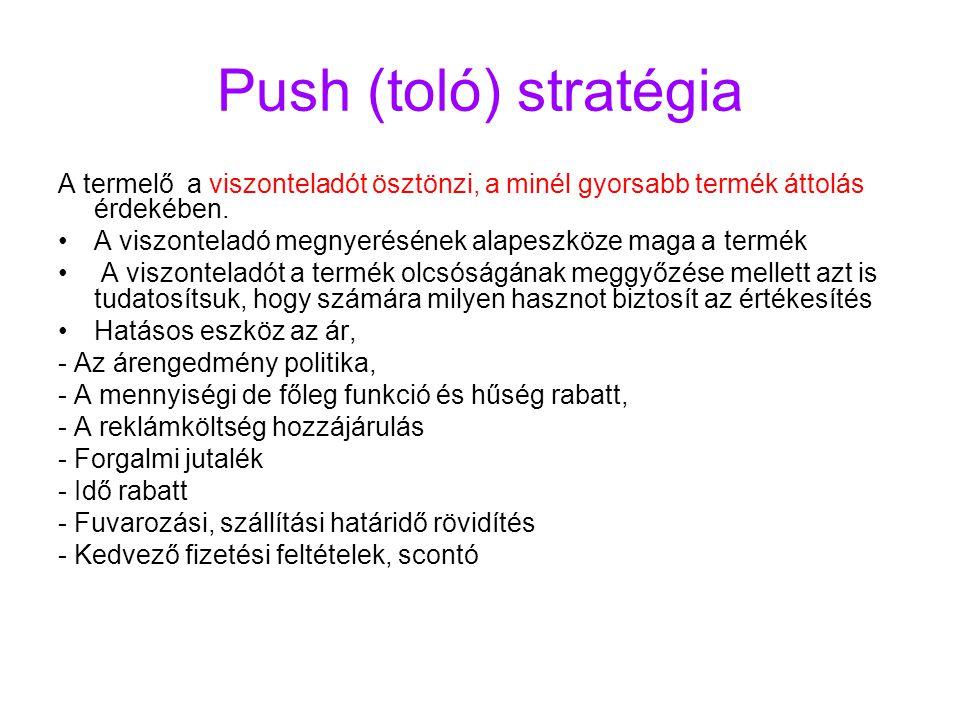 Push (toló) stratégia A termelő a viszonteladót ösztönzi, a minél gyorsabb termék áttolás érdekében. A viszonteladó megnyerésének alapeszköze maga a t