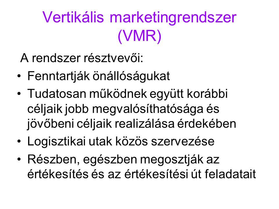 Vertikális marketingrendszer (VMR) A rendszer résztvevői: Fenntartják önállóságukat Tudatosan működnek együtt korábbi céljaik jobb megvalósíthatósága