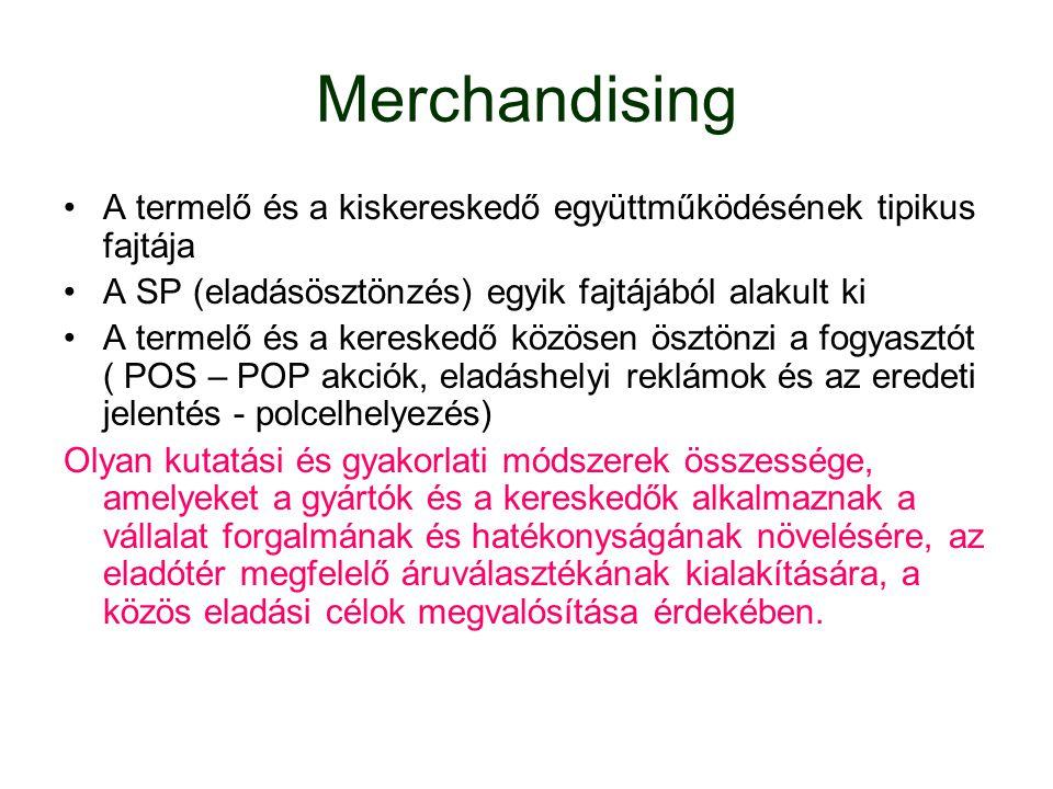 Merchandising A termelő és a kiskereskedő együttműködésének tipikus fajtája A SP (eladásösztönzés) egyik fajtájából alakult ki A termelő és a keresked