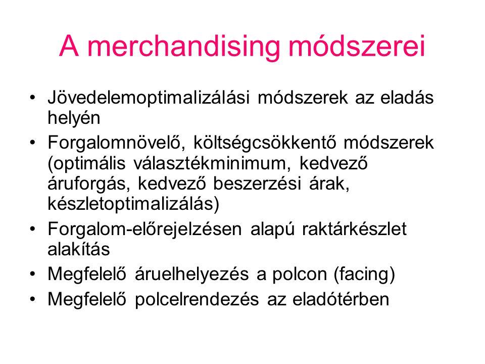 A merchandising módszerei Jövedelemoptimalizálási módszerek az eladás helyén Forgalomnövelő, költségcsökkentő módszerek (optimális választékminimum, k