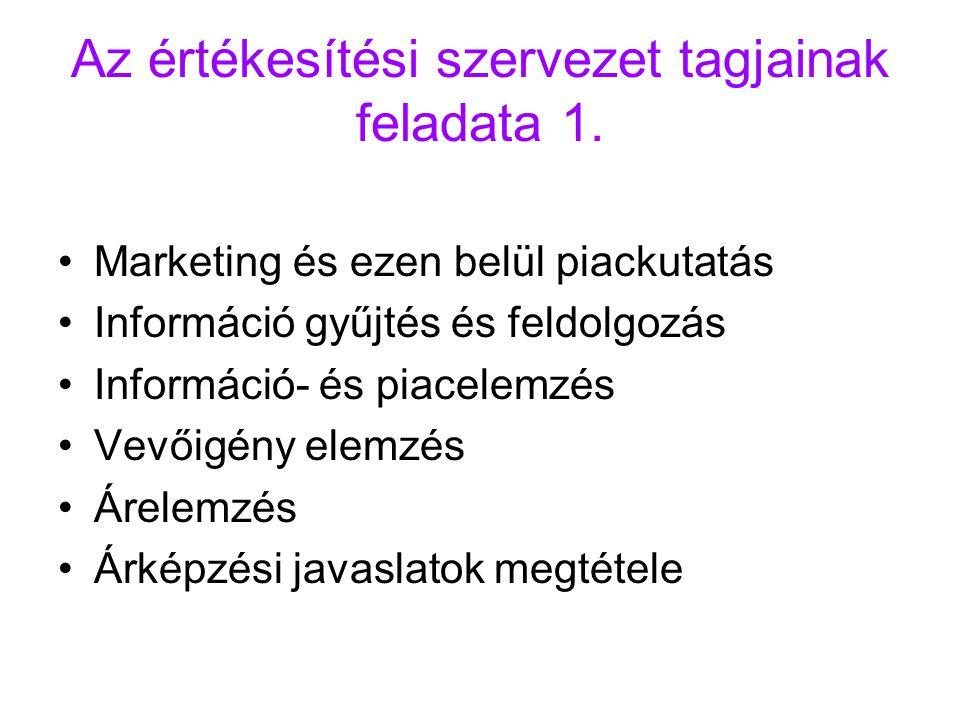 Az értékesítési szervezet tagjainak feladata 1. Marketing és ezen belül piackutatás Információ gyűjtés és feldolgozás Információ- és piacelemzés Vevői