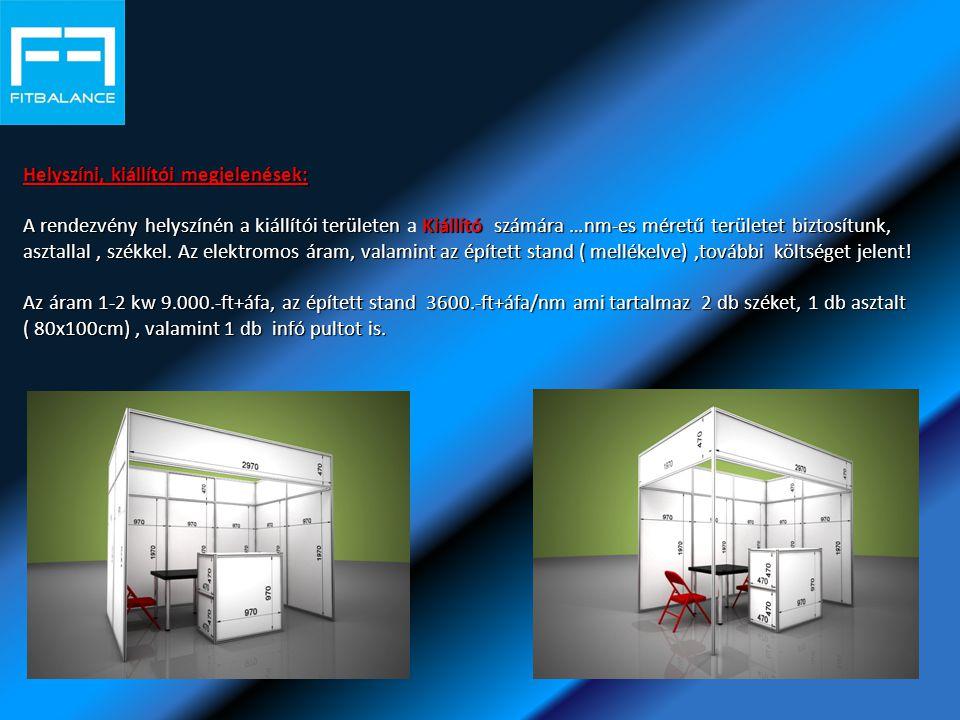Helyszíni, kiállítói megjelenések: A rendezvény helyszínén a kiállítói területen Kiállító számára …nm-es méretű területet biztosítunk, asztallal, székkel.